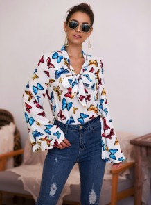 Autumn Butterfly Print Tied Blouse with Wide Sleeves