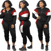 Plus Size Autumn Contrast Sweatsuit