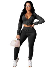 Autumn Solid Color Crop Top and Pants Hoodie Tracksuit