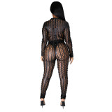 Herbst Party Sexy Hollow Out Metallic Jumpsuit