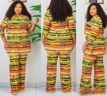 Autumn African Print Mother Elegant Two Piece Pants Set