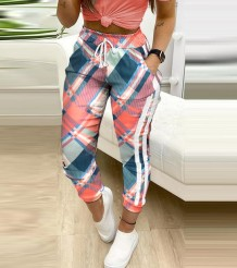 Casual Multi-Color Elestic Waist Trousers