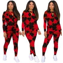 Conjunto de camisa y pantalón con estampado de póquer casual de otoño