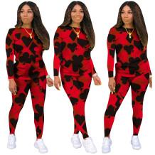 Autumn Casual Poker Print Shirt and Pants Set