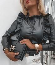 Winter Schwarzes Leder Button Up Elegantes Rüschenhemd