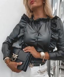 Winter Black Leather Button Up Elegant Ruffle Shirt