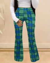Autumn African Plaid Print Wide Trousers
