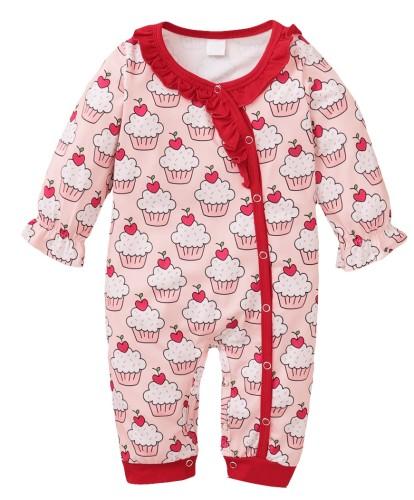 Baby Girl Herbst Button Up Print Rosa Rüschen Strampler