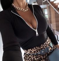 Camisa básica ajustada con cremallera sexy negra de otoño
