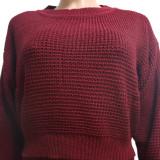 Winter Casual Stricken Plain Crop Top und Hosen Set