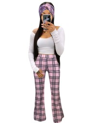 Autumn White Crop Top and Plaid Pants Set with Matching Headband