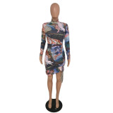 Herbst Party Print Sexy Strings Bodycon Kleid