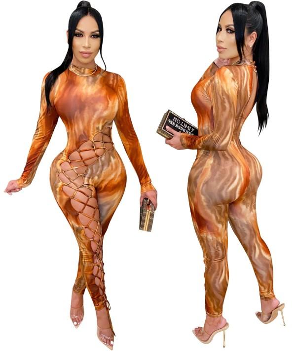 Herbst Party Sexy Schnür Print Bodycon Jumpsuit