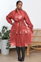 Kemerli Sonbahar Örgü ve Deri Patchwork Elbise