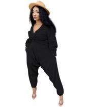Set di pantaloni a vita alta e top corto avvolto in tinta unita casual autunnale