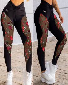 Sexy Black Mesh Patchwork Floral Yoga Leggings