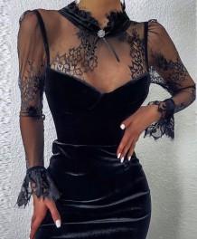 Autumn Sexy Black Patchwork Velvet Vintage Party Dress