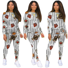 Herbst Casual Poker Print Shirt und Hosen Set