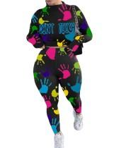 Herbst Casual Print Crop Top und High Waist Pants Set