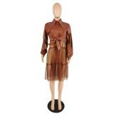 Herbst Mesh und Leder Patchwork Kleid mit Gürtel