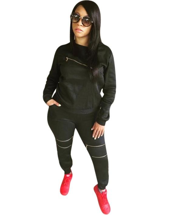 Herbst Casual Black Zipper Shirt und Hosen Set