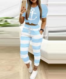 カジュアルなパフスリーブプリントシャツとカラフルなパンツセット