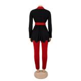 Winter Eleganter Schößchen Blazer und passende Hose Set