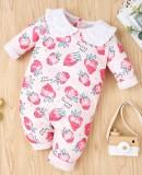 Baby Girl Autumn Print Rosa Rüschen Strampler