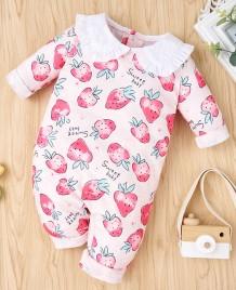 Barboteuse rose à volants imprimé automne bébé fille