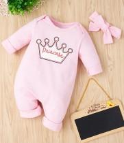 Macacão de babados rosa com estampa de outono para bebê