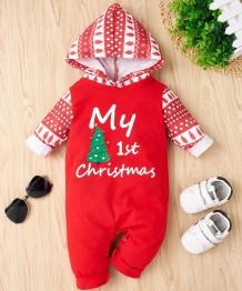 Erkek Bebek Noel Baskı Kapüşonlu Tulum