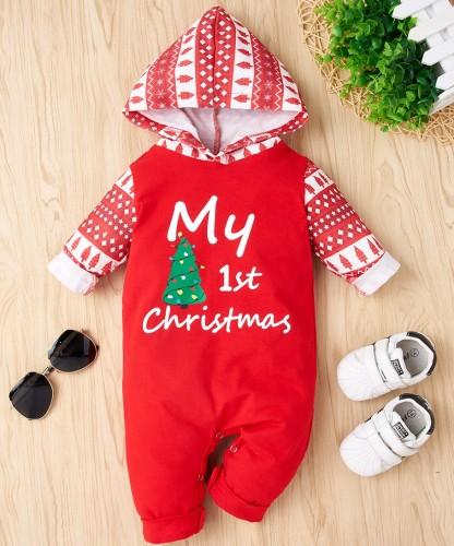 Macacão de capuz com estampa de Natal para bebê menino