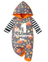 Baby Girl Thanksgiving Print Hoody Strampler