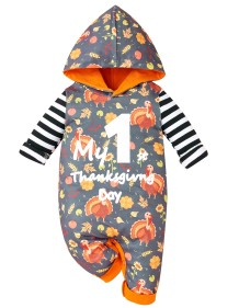 Baby Girl Thanksgiving Print Hoody Rompertjes