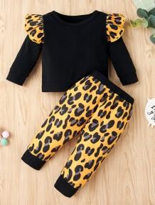 キッズガール秋のヒョウ柄フリルシャツとパンツセット