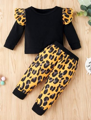 Kinder Mädchen Herbst Leopardenmuster Rüschen Shirt und Hosen Set
