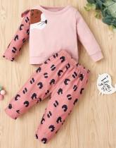 Set van shirt en broek voor kinderen in herfst met dierenprint