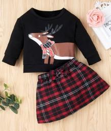 キッズガールクリスマスプリントシャツとスカートセット