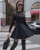 Autumn Black Casual Elegant Skater Dress
