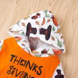 Baby Boy Thanksgiving Print Hoody Strampler