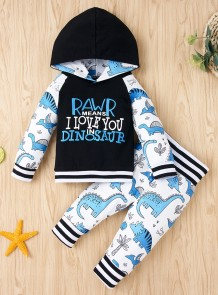 Kids Boy Autumn Animal Print Hoodie Trainingsanzug