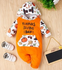 Baby Boy Thanksgiving Print Hoody Rompertjes