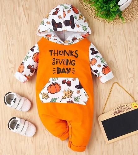 Macacão de capuz com estampa de ação de graças bebê menino