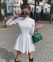 Autumn White Casual Elegant Skater Dress