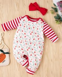 Toddler Girl Autumn Print Pagliaccetti con fascia