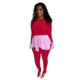 Herbst lässig weiß und rot Schößchen Shirt und Hosen Set