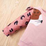 Kinder Mädchen Herbst Animal Print Shirt und Hosen Set