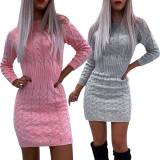 Winter Round Neck Mini Sweater Kleid