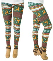 Weihnachtsdruck Frauen Basic Leggings