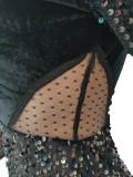 Robe moulante sexy en patchwork de paillettes de fête d'automne
